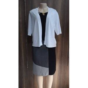 Black and Grey Women's Dress paired with a white sweater