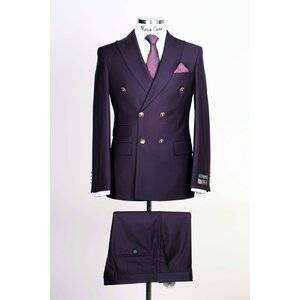 Purple Double Breasted Suit